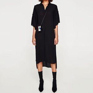 Zara Belted Tie Waist Button-Up Dress Tunic Black